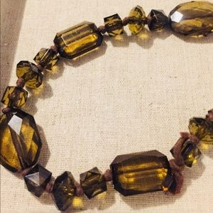 Faceted Beaded Necklace on a Ribbon